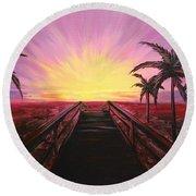 Beachside Sunset Round Beach Towel