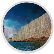 Beachy Head Lighthouse And Cliffs Round Beach Towel