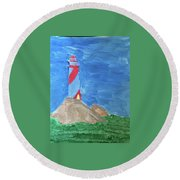 Beacon In Te Field Round Beach Towel
