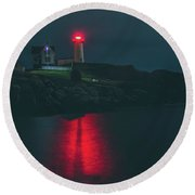 Beacon In The Evening Round Beach Towel
