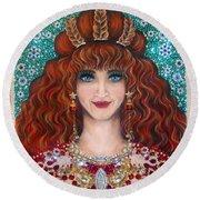 Sarah Goldberg Beauty Queen. Beadwork Round Beach Towel