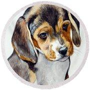 Beagle Puppy Round Beach Towel
