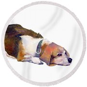 Beagle Thoughts Round Beach Towel