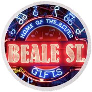 Beale Street Home Of The Blues Round Beach Towel