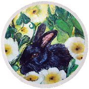 Bean The Magical Rabbit -pet Portrait Round Beach Towel