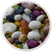 Beans Of Many Colors Round Beach Towel