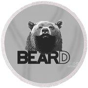 Bear And Beard Round Beach Towel