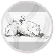 Bear And Cub Round Beach Towel
