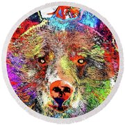 Bear Colored Grunge Round Beach Towel