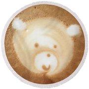 Bear Cup Latte  Round Beach Towel