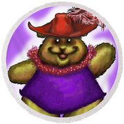 Bear In Red Hat Round Beach Towel
