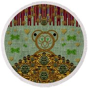 Bear In The Blueberry Wood Round Beach Towel
