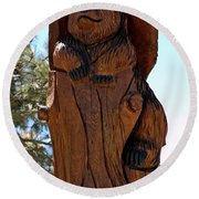 Bear In Wood Round Beach Towel