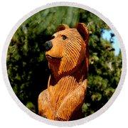 Bear In Woods Round Beach Towel