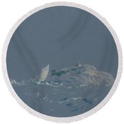 Bear Island Light Round Beach Towel