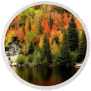 Bear Lake Autumn Round Beach Towel
