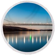 Bear Mountain Bridge At Dusk. Round Beach Towel