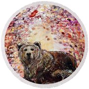 Bear With A Heart Of Gold Round Beach Towel