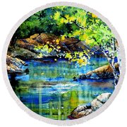 Bear Paw Stream Round Beach Towel