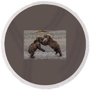 Bear Play Round Beach Towel