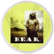 Brown Grizzly Bear Round Beach Towel