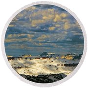 Bear Tooth Mountain Range Round Beach Towel