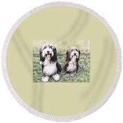 Bearded Collies Round Beach Towel