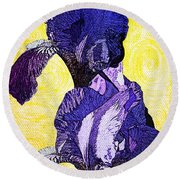 Bearded Iris Round Beach Towel