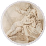 Bearded Man Embracing A Young Woman Round Beach Towel