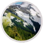 Beargrass Flower On The Slopes Of Mt. Hood Round Beach Towel