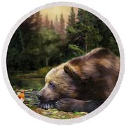 Bear's Eye View Round Beach Towel