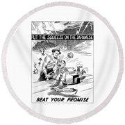 Beat Your Promise Cartoon  Round Beach Towel