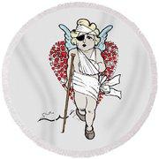 Beaten Up Cupid Art - Funny Love Broken Heart Art Round Beach Towel
