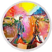 Beatles Abbey Road  Round Beach Towel