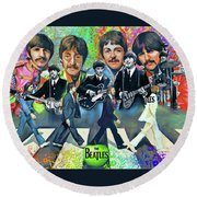 Beatles Fan Art Round Beach Towel