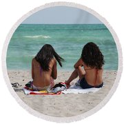 Beauties On The Beach Round Beach Towel