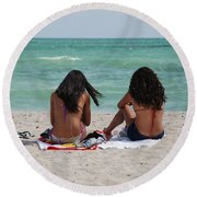 Beauties On The Beach Round Beach Towel
