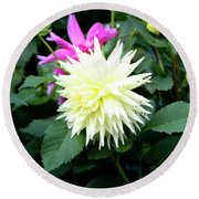 Beautiful And Fresh Dahlias In The Butchrt  Gardens,vancouver Island 2. Round Beach Towel