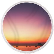 Beautiful And Serene Sunset View Over A Lagoon Bay With Couple Of Yachts And Islands In Distance Round Beach Towel