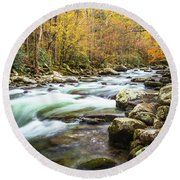 Beautiful Autumn Colors Little Pigeon River Smoky Mountains Round Beach Towel