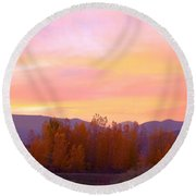 Beautiful Autumn Sunset Round Beach Towel