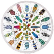 Beautiful Beetles Round Beach Towel