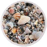 Beautiful Broken Shells Round Beach Towel