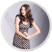 Beautiful Brunette Girl Wearing Retro Zipper Dress Round Beach Towel
