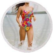 Beautiful Brunette Model On The Beach Round Beach Towel