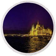Beautiful Budapest Parliament Round Beach Towel