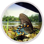 Beautiful Butterfly At The River II Round Beach Towel