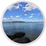 Beautiful Calm Ocean Water's In Casco Bay Maine Round Beach Towel