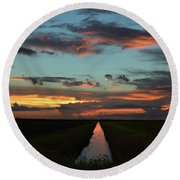 Beautiful Canal Sunset In Florida Round Beach Towel