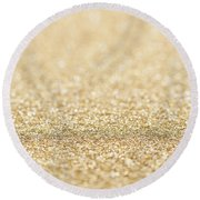 Beautiful Champagne Gold Glitter Sparkles Round Beach Towel
